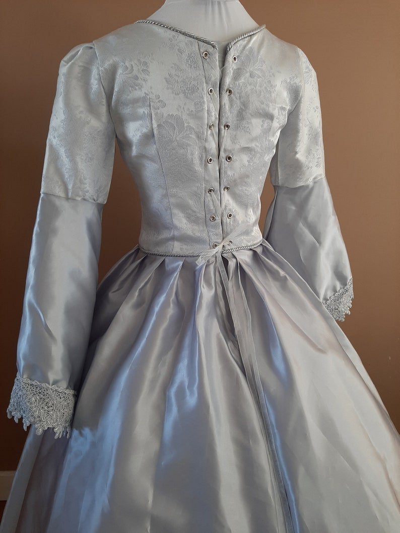 Bust 34 Silver Satin Tudor Anne Boleyn Wedding Dress OUAT Queen Costume Game of Thrones Gown The Tudors #27 Medieval Costume