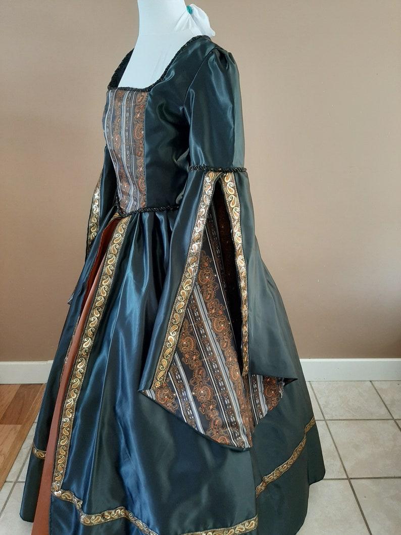 Bust 36 Samhain Black Satin Tudor Anne Boleyn Wedding Dress Game of Thrones Gown OUAT Queen Costume The Tudors #27 Medieval Costume