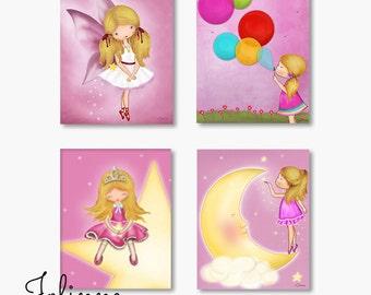 Set Of 4 Kids Wall Art, Girls Room Decor, Nursery Art, Pink Nursery Art,  Childrens Art, Girl Nursery Decor, Kids Wall Decor, Kids Art, Fairy