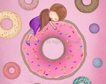 Donuts art print for kids room,Doughnuts poster art print illustration,baby nursery pink decor,children's wall art,girls bedroom wall decor