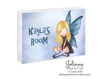 Personalized name door sign for girls room,angel girls room sign,custom name wall art kids room,baby nursery wall decor,granddaughter's gift