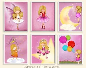 kids art print,set of 6 wall posters,pink nursery art,kids decor,artwork kids,baby wall decoration,childrens room wall art,nursery artwork