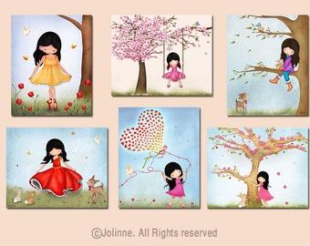 Set of 6 art prints for girls room, kids room decor, art posters, art for girls room, nursery prints, girl bedroom artwork,childrens art