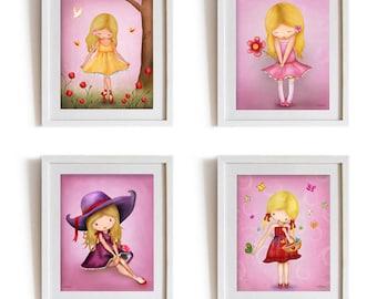 Set of 4 posters for girls room,childrens room decorations,artwork for kids,nursery decor girl,baby nursery wall decor,childrens art work,