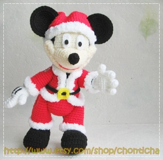 Mickey Mouse and Minnie Mouse SANTA 10 inches PDF | Etsy
