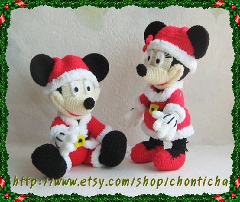 Mickey Mouse And Minnie Mouse Santa 10 Inches Pdf Etsy
