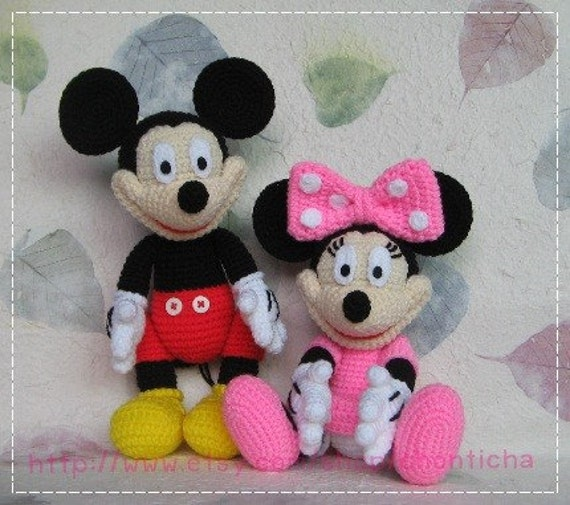 Mickey Mouse And Minnie Mouse 10 Inches Pdf Amigurumi Etsy