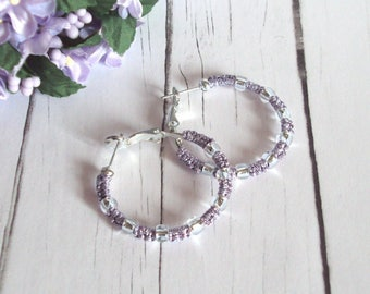 Metallic Lilac Hoop Earrings , Beaded Tatted Lace - Lilac Silver Earrings - Evening Wear Jewellery - One Of A Kind - Adriana