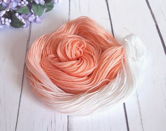 Size 10 Crochet / Tatting Thread - Hand Dyed Thread - Peach , White - Peach Ombre Number 1 - 50 Yards