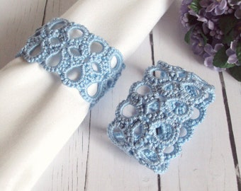 Blue Napkin Rings - Set of Two - Tatted Napkin Rings - Baby Blue Lace - Wedding Decor - Lottie