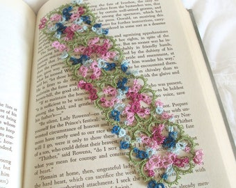 Lace Bookmark - Floral Tatting - Pink , Blue , Leaf Green - Intricate Tatted Lace Flower Bookmark - Art Nouveau - Janessa Version 3