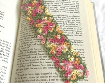 Lace Bookmark - Floral Tatting - Pink, Orange, Yellow, Leaf Green - Tatted Lace Spring Flower Bookmark - Art Nouveau - Janessa Version 3