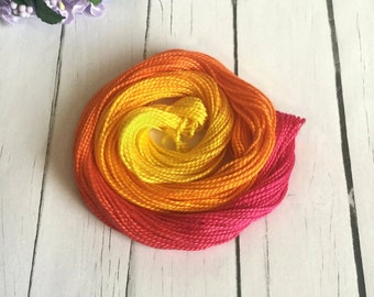 Hand Dyed Perle 5 Cotton Thread -  Cross Stitch - Embroidery - Crochet Cotton - Yellow , Orange , Magenta  - Sunset - 23 Yards