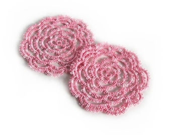 Pink Rose Coasters / Summer Wedding Table Decor , Rococo , Cottage Chic , Ethereal - Set Of Two - Rosa