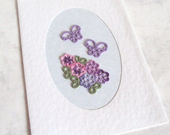 Tatted Butterflies , Flowers Greeting Card - Pink , Purple, Green - Handmade - Blank Inside