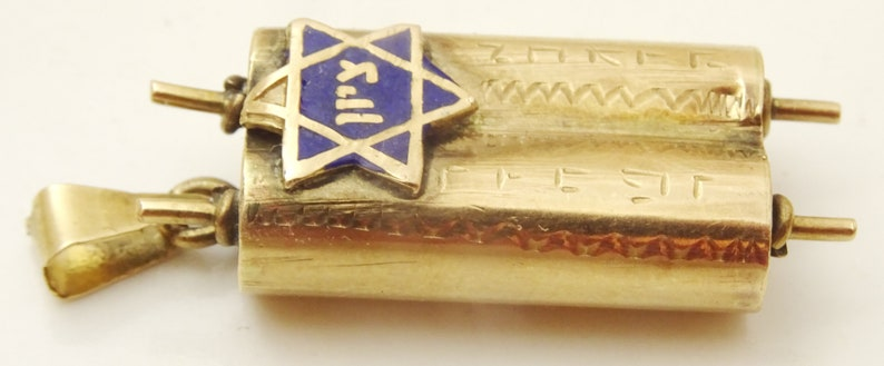 Vintage Torah and Zion 14 karat Gold and Enamel Pendant