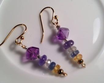 Amethyst/Sapphire/Tanzanite Handmade Gold Filled Earrings