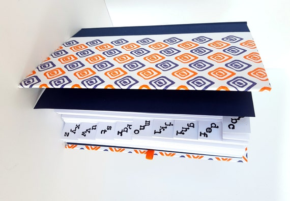 geometric letterpress blank address book indigo and orange etsy
