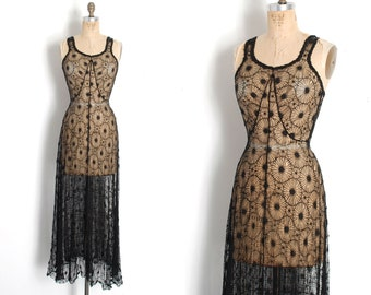 6a2105c1df Vintage 1930s Dress   30s Sheer Floral Lace Gown   Black ( XS extra small )