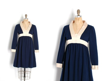 ae25ee52a5c Vintage 1960s Dress   60s Geoffrey Beene Wool and Satin Babydoll Dress    Navy Blue and White ( small S )