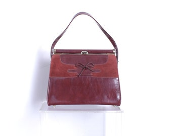 2090ffb6dbe Vintage 1960s Purse   60s Patent Leather Corset Purse   Burgundy Red