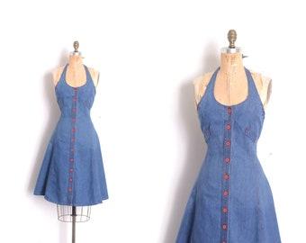 279a9c39732 Vintage 1970s Dress / 70s Landlubber Denim Halter Dress / Blue ( XS S)