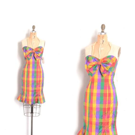 Vintage 1980s Dress / 80s Albert Nipon Strapless P