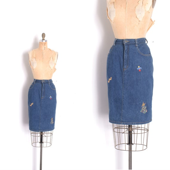 Vintage 1980s Skirt / 80s Embroidered Denim Skirt