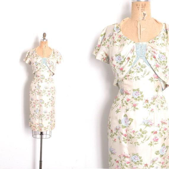 Vintage 1950s Dress / 50s Rose Print Silk Wiggle D