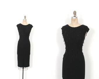 Vintage 1950s Dress / 50s Knit Wiggle Dress with Beaded Tassels / Black ( S M )