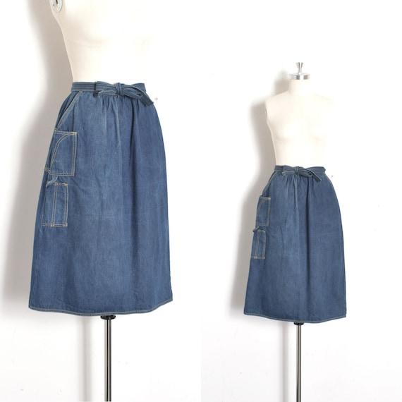Vintage 1980s Skirt / 80s Denim Wrap Skirt with Ca