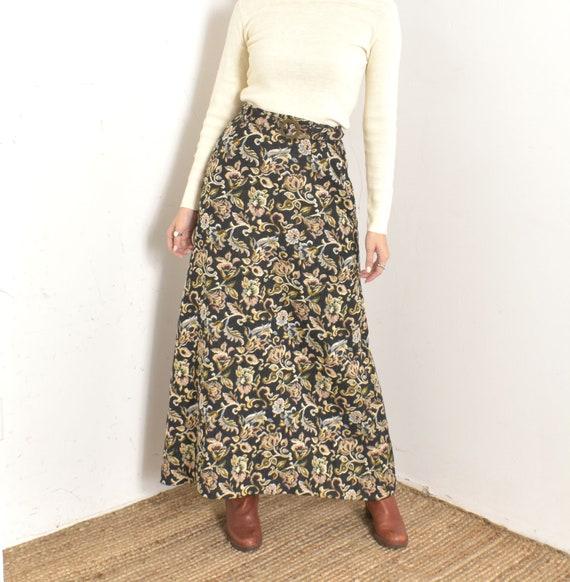 Vintage Autumnal Floral Yellow Floral Print Maxi Skirt