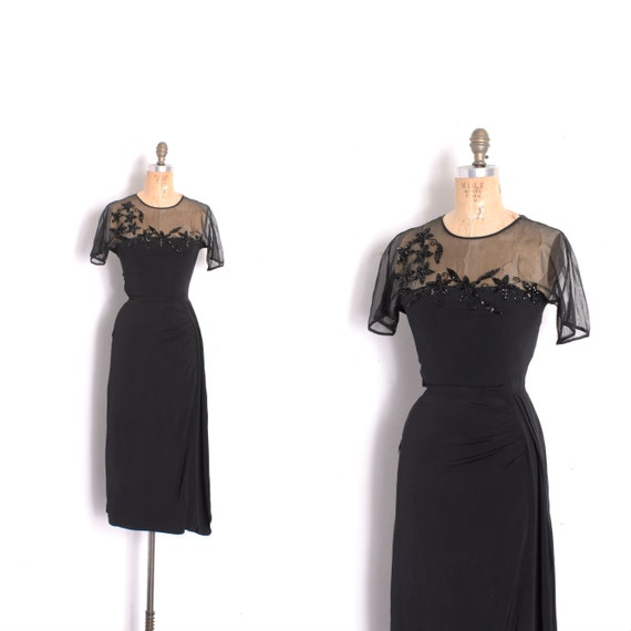 Vintage 1940s Dress 40s Rayon Cocktail Dress with Sheer Bodice and Sequins Black ( XS extra smal.)