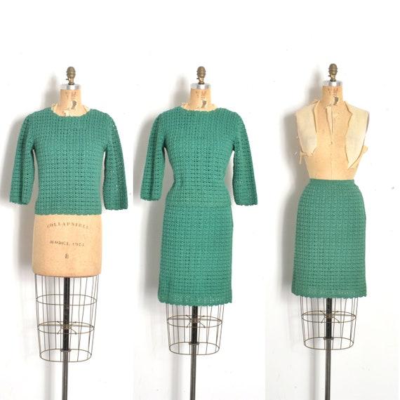 Vintage 1960s Dress / 60s Crochet Knit Two Piece S