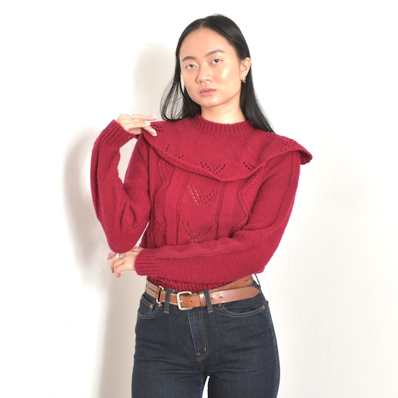Vintage 1980s Sweater / 80s Collared Berry Knit Sw