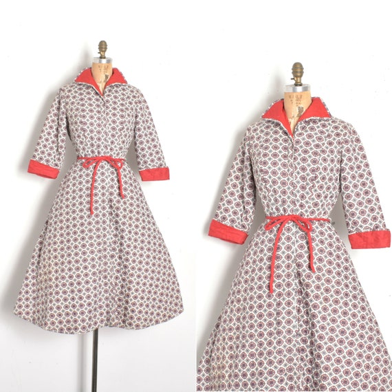 Vintage 1950s Dress / 50s Quilted Cotton House Coa