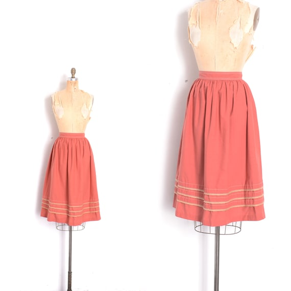 Vintage 1970s Skirt / 70s Cotton Skirt with Braide