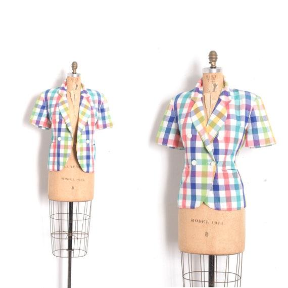 Vintage 1980s Jacket / 80s Colorful Plaid Short Sl