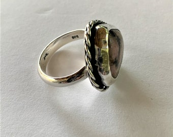 Pink And Black Rhodonite Ring