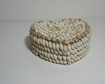 Vintage Sailor/'s Valentine Souvenir Shell Heart-Shaped  Jewelry Box  Trinket Box