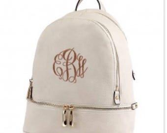 Cream Monogrammed Fashion Backpack, MONOGRAM INCLUDED, Momogrammed Purse, Monogrammed Crossbody, Leather Backpack, Backpack purse