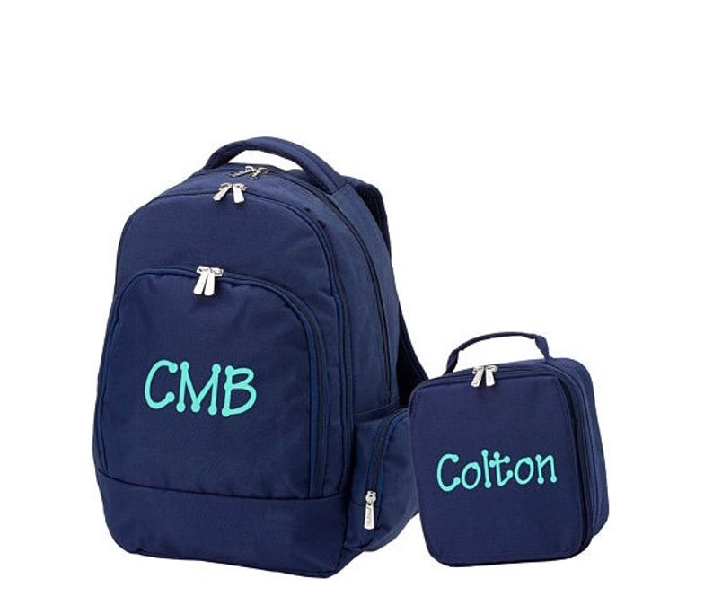 Personalized Backpack Solid Navy Backpack and Lunch box Set MONOGRAM INCLUDED Boy or Girl Backpack Back to School Monogram Backpack