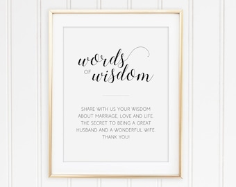 words of wisdom sign printable wedding sign marriage advice sign guest book alternative guest book sign advice for newlyweds