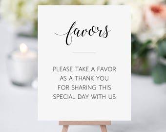 Printable Wedding Favors Sign, Elegant Wedding Favors Sign, Please Take a Favor, Sign for Wedding Favors, Wedding Reception Sign, Alejandra
