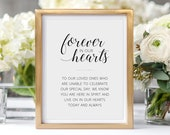 Memorial Sign, Forever In Our Hearts, Printable Memorial Sign, Memorial Sign for Wedding, Memory Table Sign, Alejandra