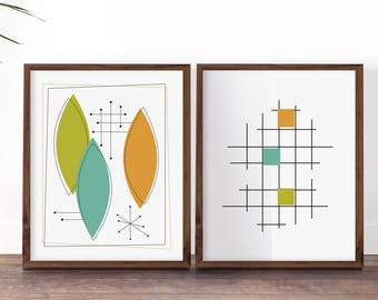 Mid Century Prints Modern Art Set Wall Of 2 Colorful 1950s Style Decor Nursery