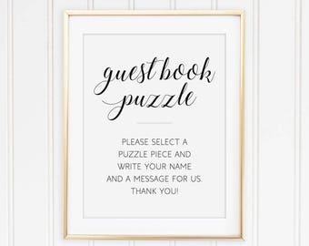 Guest book puzzle, Printable wedding puzzle sign, Sign a puzzle piece, Guestbook puzzle, Unique guest book, Puzzle instructions, Alejandra