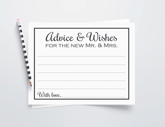 Wedding Advice Cards Advice Wishes New Mr Mrs Notecards Etsy
