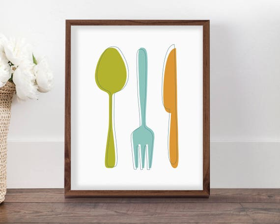 Kitchen Utensils Art Print, Colorful Kitchen Decor, Mid Century Kitchen  Printable Wall Art