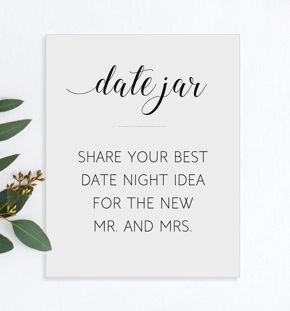 Date Night Ideas Sign Printable Date Jar Wedding Sign Date Etsy